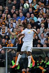 Antonio Valencia of Manchester United challenges Hull City's Robbie Brady  - Photo mandatory by-line: Matt McNulty/JMP - Mobile: 07966 386802 - 24/05/2015 - SPORT - Football - Hull - KC Stadium - Hull City v Manchester United - Barclays Premier League