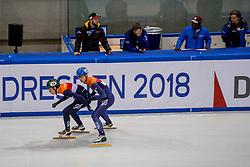 12-01-2018 DUI: ISU European Short Track Championships 2018 day 1, Dresden<br /> Dylan Hoogerwerf NED #18, Dennis Visser NED