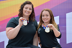 16/07/2017 : Orla Barry (IRL), F57, Niamh McCarthy (IRL) F41, Women's Discus, Silver Medal Winners, at the 2017 World Para Athletics Championships, Olympic Stadium, London, United Kingdom