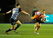 Cheetahs' Fred Zeilinga and Cardiff Blues' Jarrod Evans<br /> <br /> Photographer Mike Jones/Replay Images<br /> <br /> Guinness PRO14 Round 14 - Cardiff Blues v Cheetahs - Saturday 10th February 2018 - Cardiff Arms Park - Cardiff<br /> <br /> World Copyright © Replay Images . All rights reserved. info@replayimages.co.uk - http://replayimages.co.uk