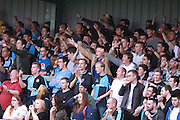 Wycombe Wanderers fans in the away end during the Sky Bet League 2 match between Barnet and Wycombe Wanderers at Underhill Stadium, London, England on 15 August 2015. Photo by Bennett Dean.