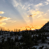 A beautiful summer sunset lights up the sky above Yosemite National Park, California