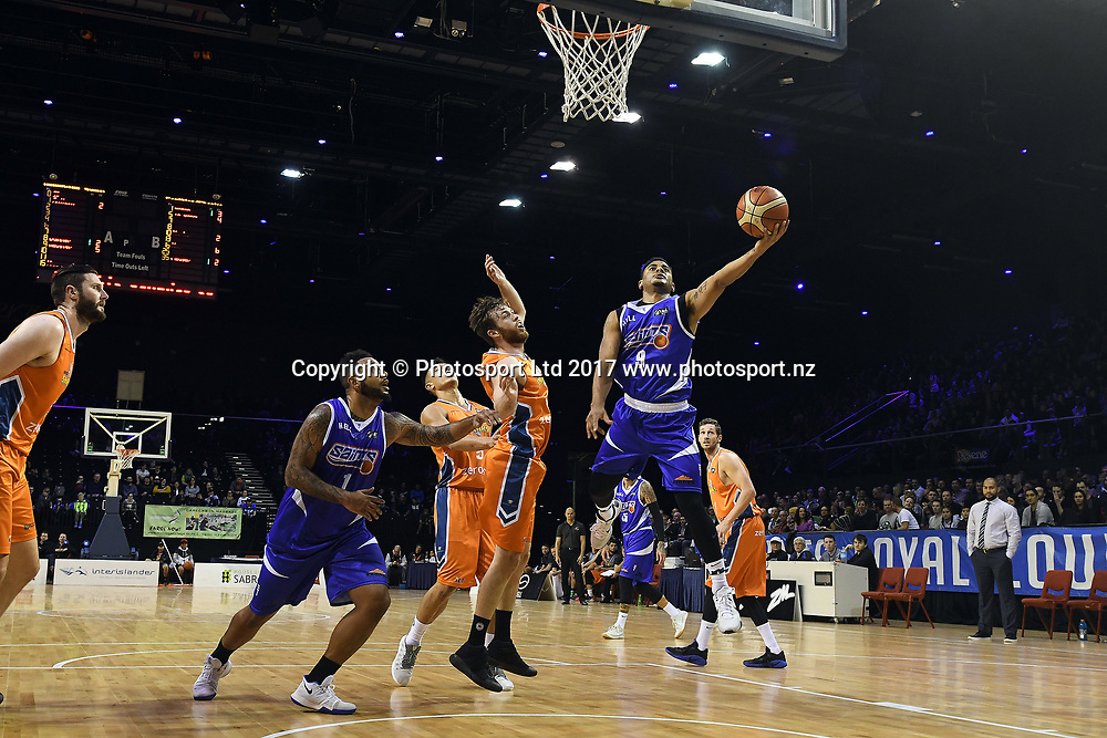 Wellington Saints' Corey Webster goes for a shoot during the NBL match between Wellington Saints v Southland Sharks, TSB Arena, Friday 19th May 2017. Copyright Photo: Raghavan Venugopal / www.photosport.nz