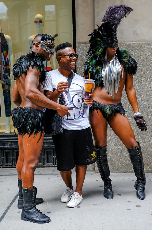 The Gay Pride parade on Fifth Avenue in New York, 2017, complete with colorful characters, positions on human rights and anti establishment protests.