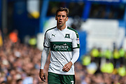 Plymouth Argyle Defender, Gary Sawyer (3) during the EFL Sky Bet League 2 match between Portsmouth and Plymouth Argyle at Fratton Park, Portsmouth, England on 14 April 2017. Photo by Adam Rivers.