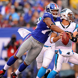 Defensive end Osi Umenyiora forces quarterback Matt Moore #3 of the Carolina Panthers to fumble the ball during second half NFL action in the New York Giants' 31-18 victory over the Carolina Panthers at New Meadowlands Stadium in East Rutherford, New Jersey.