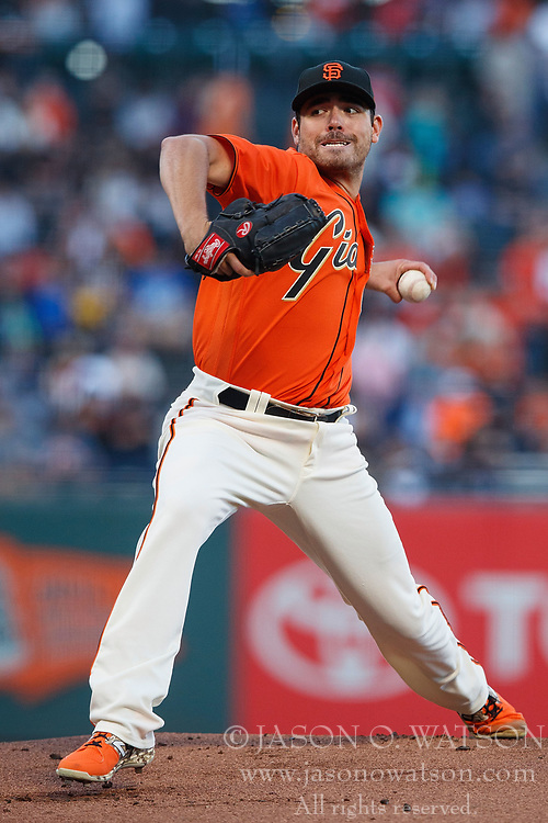 SAN FRANCISCO, CA - JULY 07: Matt Moore #45 of the San Francisco Giants pitches against the Miami Marlins during the first inning at AT&T Park on July 7, 2017 in San Francisco, California.  (Photo by Jason O. Watson/Getty Images) *** Local Caption *** Matt Moore