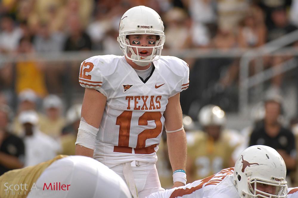 Sept. 15, 2007; Orlando, FL, USA; Texas Longhorns quarterback (12) Colt McCoy during his team's game against Central Florida at Bright House Stadium. Texas won the game 35-32. ..©2007 Scott A. Miller