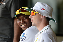 July 7, 2018 - Colombo, Western Province, Sri Lanka - South African senior fast bowlers Dale Steyn (1st R) and Young Lungi Ngidi (C) having a chat in the off the filed during the day one of a two-day practice match between the Sri Lanka Board XI and South African team at P Sara Oval grounds in Colombo on 7th July, 2018, South Africa will play two Test matches, five ODI's and one T20 match in Sri Lanka. The first Test will play on July 12 at the Galle International Cricket Stadium in Galle. (Credit Image: © Sameera Peiris/Pacific Press via ZUMA Wire)