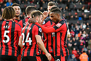 Goal - Ryan Fraser (24) of AFC Bournemouth celebrates scoring a goal to give a 1-0 lead to the home team with Jermain Defoe (18) of AFC Bournemouth during the Premier League match between Bournemouth and Southampton at the Vitality Stadium, Bournemouth, England on 3 December 2017. Photo by Graham Hunt.
