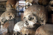 Skulls packed tightly together at Tuol Sleng Genocide Museum serve as a reminder that more than 10,000 victims of the Pol Pot regime died at the Killing Fields in Phnom Penh, Cambodia.