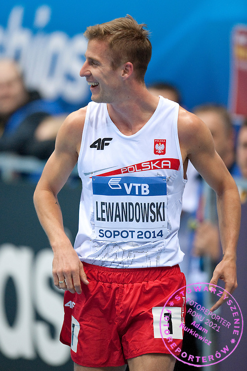 Marcin Lewandowski of Poland after men's 800 meters qualification during the IAAF Athletics World Indoor Championships 2014 at Ergo Arena Hall in Sopot, Poland.<br /> <br /> Poland, Sopot, March 7, 2014.<br /> <br /> Picture also available in RAW (NEF) or TIFF format on special request.<br /> <br /> For editorial use only. Any commercial or promotional use requires permission.<br /> <br /> Mandatory credit:<br /> Photo by &copy; Adam Nurkiewicz / Mediasport