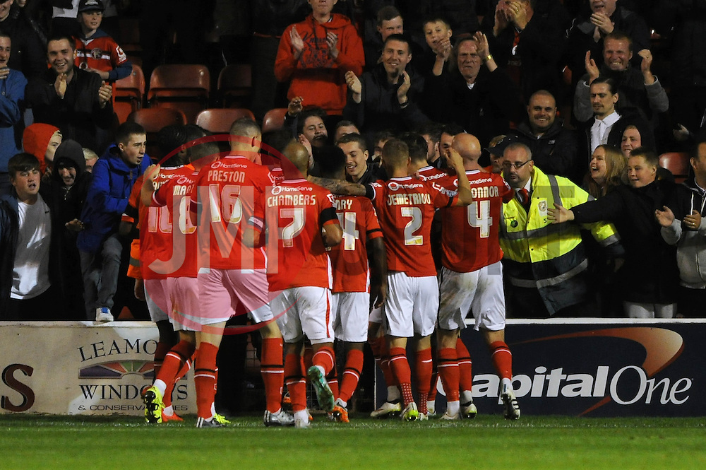 Milan Lalkovic of Walsall celebrates with his team mates after scoring - Mandatory byline: Dougie Allward/JMP - 07966386802 - 25/08/2015 - FOOTBALL - Bescot Stadium -Walsall,England - Walsall v Brighton - Capital One Cup - Second Round