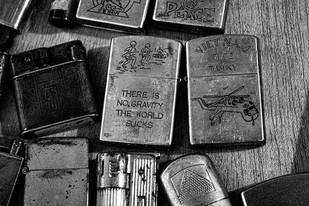 A collection of Zippo lighters at a flea market in Barcelona.