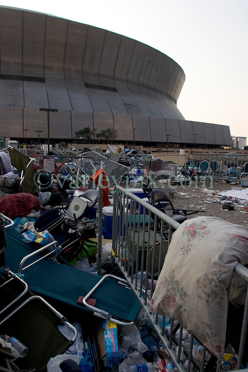 03 Sept  2005. New Orleans, Louisiana. Post hurricane Katrina.<br /> Remnants of thousands of evacuees lie discarded outside the Superdome following the mass evacuation of the city.<br /> Photo; &copy;Charlie Varley/varleypix.com