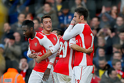 Olivier Giroud of Arsenal celebrates scoring his second goal to make it 2-0 - Photo mandatory by-line: Rogan Thomson/JMP - 07966 386802 - 15/02/2015 - SPORT - FOOTBALL - London, England - Emirates Stadium - Arsenal v Middlesbrough - FA Cup Fifth Round Proper.