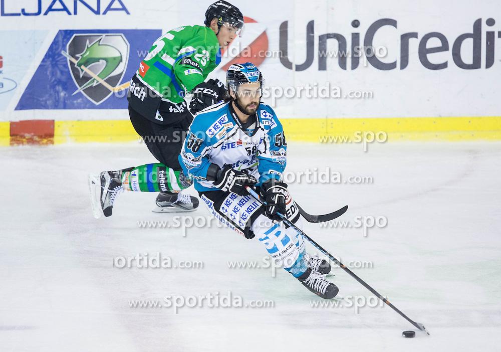 v.l.  Sebastjan Hadzic (HDD Olimpija), Sebastien Piche (Black Wings Linz)