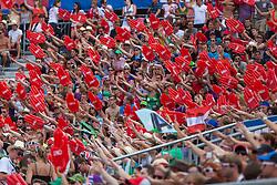"22.07.2012, Klagenfurt, Strandbad, AUT, Beachvolleyball World Tour Grand Slam 2012, im Bild Fansector// during the A1 Beachvolleyball Grand Slam 2012 at the ""Strandbad"" Klagenfurt, Austria on 2012/07/22. EXPA Pictures © 2012, EXPA Pictures © 2012, PhotoCredit: EXPA/ Mag. Gert Steinthaler"