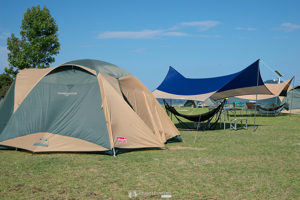 The camp ground at Okunoshima, aka Rabbit Island in Hiroshima Prefecture Japan.