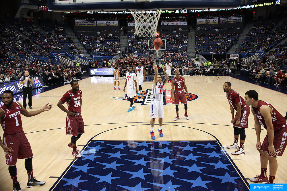 Nic Moore, SMU, shoots a free throw during the Temple Vs SMU Semi Final game at the American Athletic Conference Men's College Basketball Championships 2015 at the XL Center, Hartford, Connecticut, USA. 14th March 2015. Photo Tim Clayton