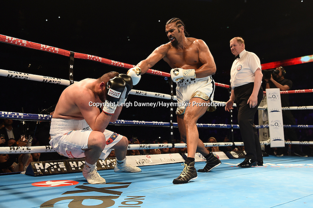 David Haye throws a right hand blow to Arnold Gjergjaj in a heavyweight contest at the 02 Arena, London on the 21st May 2016. Photo credit: Leigh Dawney/Hayemaker Promotions