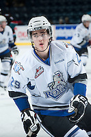 KELOWNA, CANADA - NOVEMBER 20: Chaz Reddekopp #29 of the Victoria Royals skates on the ice during warm up at the Kelowna Rockets on November 20, 2013 at Prospera Place in Kelowna, British Columbia, Canada.   (Photo by Marissa Baecker/Shoot the Breeze)  ***  Local Caption  ***