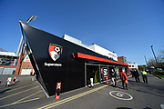 The AFC Bournemouth Superstore at Vitality Stadium under clear blue sunny skies before the Premier League match between Bournemouth and Manchester United at the Vitality Stadium, Bournemouth, England on 18 April 2018. Picture by Graham Hunt.