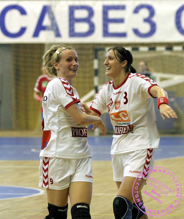 09.06.2007 Nis-Serbia.Serbia-Poland second qualify match for world cup. Majerek Malgorzata (L) and Malczewska Dorota(R) Poland after victory.Foto:Aleksandar Djorovic