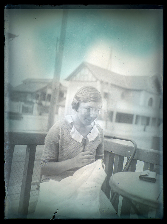 young adult woman during a vacation at Côte D'argent in France 1933