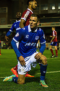 Jed Wallace during the The FA Cup match between Aldershot Town and Portsmouth at the EBB Stadium, Aldershot, England on 19 November 2014.
