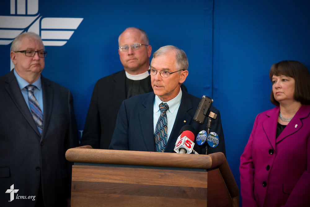 The Rev. Dr. Jim Lamb, executive director of Lutherans for Life, speaks at a press conference with fellow members of the LCMS Sanctity of Life Committee, in light of the recent undercover video regarding Planned Parenthood, on Thursday, July 16, 2015, at the International Center of The Lutheran Church–Missouri Synod. LCMS Communications/Erik M. Lunsford
