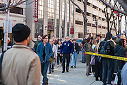 A continual stream of people head to the end of the line to enter the Bernie rally on Temple's campus in Philadelphia, PA
