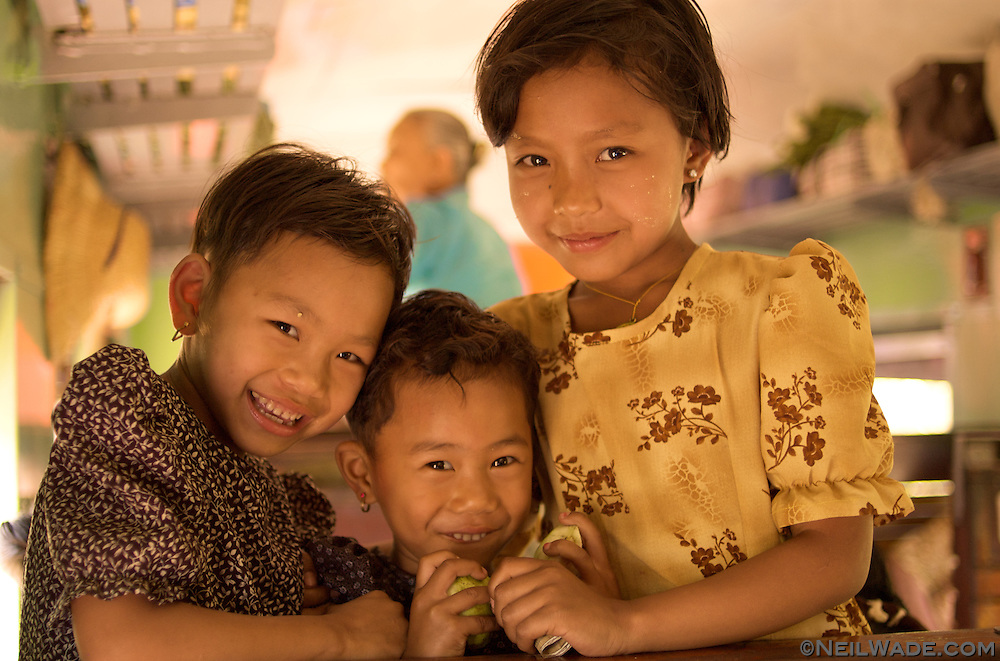 Friendly Burmese minority girls on a train. Myanmar (Burma)