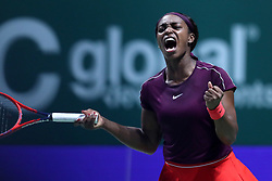 October 27, 2018 - Singapore - Sloane Stephens of the United States celebrates winning her first game during the semi final match between Sloane Stephens and Karolina Pliskova on day 7 of the WTA Finals at the Singapore Indoor Stadium. (Credit Image: © Paul Miller/ZUMA Wire)