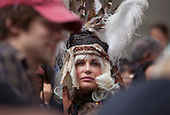 New Orleans, Louisiana, February 21, 2012, Mardi Gras Day Daryl Hannah in the crowd in front of Gallier Hall on St.Charles Ave as the Zulu Parade roles by.