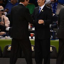 Apr 2, 2012; New Orleans, LA, USA; Kansas Jayhawks head coach Bill Self (left) shakes hands with Kentucky Wildcats head coach John Calipari before the start of the finals of the 2012 NCAA men's basketball Final Four at the Mercedes-Benz Superdome. Mandatory Credit: Derick E. Hingle-US PRESSWIRE