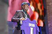 Apr 25, 2019; Nashville, TN, USA; Oklahoma wide receiver Marquise Brown after being selected as the No. 25 pick of the first round by the Baltimore Ravens during the 2019 NFL Draft. (Kim Hukari/Image of Sport)