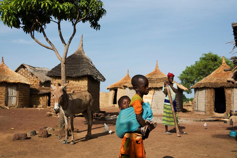 compound of Hawa Diakite - interviewed by Viv. ..Sogola, Mali. ..Sogola, Mali.