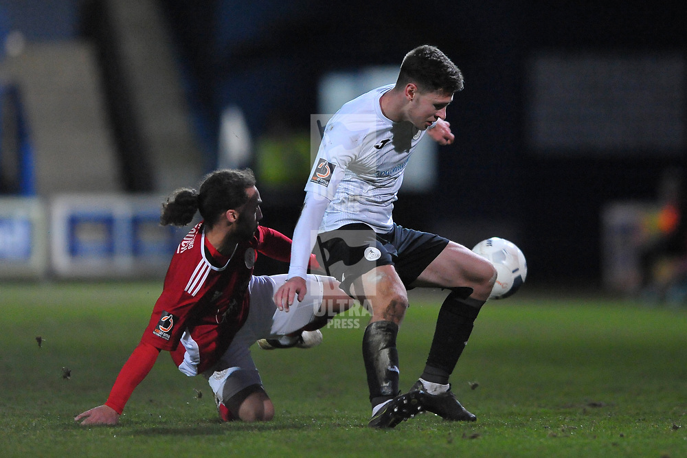 TELFORD COPYRIGHT MIKE SHERIDAN Ryan Barnett of Telford is tackled by Ellis Myles of Brackley during the Vanarama Conference North fixture between AFC Telford United and Brackley Town at the New Bucks Head on Saturday, January 4, 2020.<br /> <br /> Picture credit: Mike Sheridan/Ultrapress<br /> <br /> MS201920-039