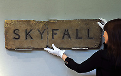 Replica Skyfall sign, one of 13 made post production.  Est: £1,000-1,5000. Christie's London Pop Culture photocall.  Collection of important memorabilia from the past century to auction on November 29 at Christie's London. Christie's London, United Kingdom, November 23, 2012. Photo by Nils Jorgensen / i-Images.