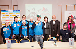 Rok Marguc with other athletes at press conference prior to the Rogla Snowboard World Cup and IPC Alpine Skiing World Cup, on January 30, 2013 in Rogla, Slovenia. (Photo By Vid Ponikvar / Sportida.com)