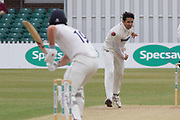 Muhammad Abbas bowling to Alex Lees during the Specsavers County Champ Div 2 match between Leicestershire County Cricket Club and Durham County Cricket Club at the Fischer County Ground, Grace Road, Leicester, United Kingdom on 8 July 2019.