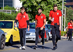 BELGRADE, SERBIA - Sunday, June 11, 2017: Wales' Aaron Ramsey, Joe Ledley and goalkeeper Wayne Hennessey during a team walk around the Hyatt Regency Hotel before the 2018 FIFA World Cup Qualifying Group D match between Wales and Serbia. (Pic by David Rawcliffe/Propaganda)