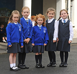 Junior infants at Knockrooskey NS <br />Cliona Ni Cionnaith, Lisa Hastings, Roselle Cunninghan, Hoppie Hoban, and Abbey Kelly<br /> Pic Conor McKeown