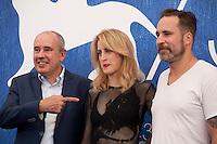 Producer Antonino Lombardo, director Fien Troch and Nico Leunen at the Home film photocall at the 73rd Venice Film Festival, Sala Grande on Saturday September 3rd 2016, Venice Lido, Italy.