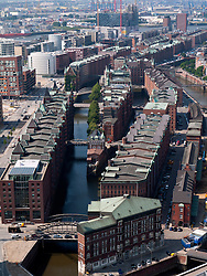 View over Speicherstadt historic warehouse and canal district in Hamburg Germany