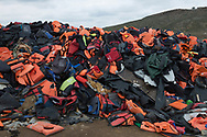 Some of the tens of thousands of lifejackets in the landfill near Molyvos. Lesbos, Greece, March 15, 2016.