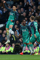 Football - 2018 / 2019 UEFA Champions League - Quarter-Final, Second Leg: Manchester City (0) vs. Tottenham Hotspur (1)<br /> <br /> Tottenham Hotspur players celebrate the second goal score by Son Heung-Min to make the score 1-2, at The Etihad.<br /> <br /> COLORSPORT/PAUL GREENWOOD