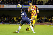 Southend United defender Jason Demetriou (24) tackling Bradford City defender James Meredith (3) during the EFL Sky Bet League 1 match between Southend United and Bradford City at Roots Hall, Southend, England on 19 November 2016. Photo by Matthew Redman.