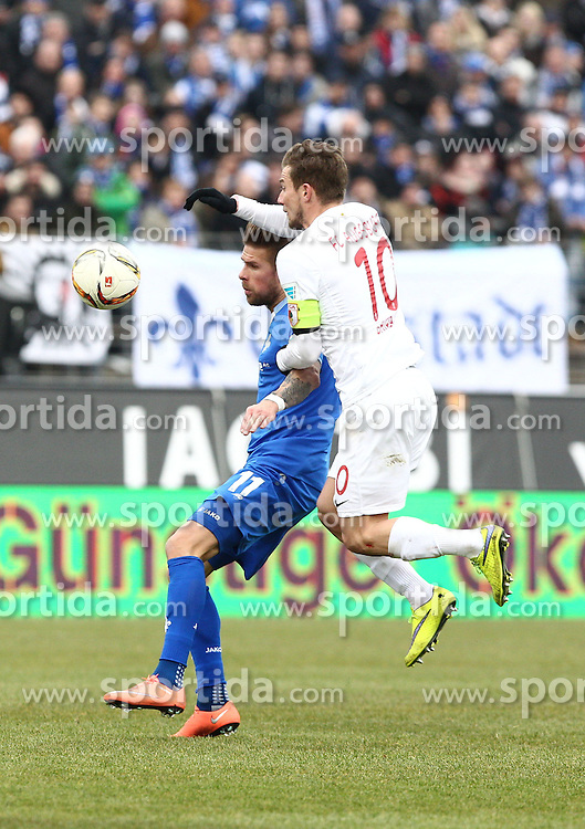 12.03.2016, Merck Stadion am Boellenfalltor, Darmstadt, GER, 1. FBL, SV Darmstadt 98 vs FC Augsburg, 26. Runde, im Bild Tobias Kempe (SV Darmstadt 98), Daniel Baier (FC Augsburg) // during the German Bundesliga 26th round match between SV Darmstadt 98 and FC Augsburg at the Merck Stadion am Boellenfalltor in Darmstadt, Germany on 2016/03/12. EXPA Pictures &copy; 2016, PhotoCredit: EXPA/ Eibner-Pressefoto/ Bermel<br /> <br /> *****ATTENTION - OUT of GER*****